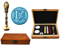 Vintage Luxury Letter M Alphabet Initial Engraved Wedding Invitation Wax Seal Sealing Stamp Brass Peacock Metal