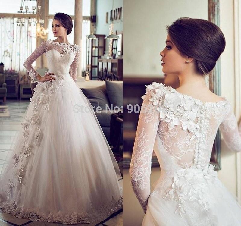 Buy custom vintage ball gown wedding for Full sleeve lace wedding dress
