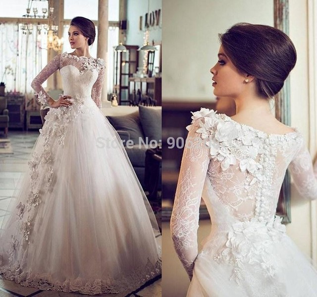 Custom Vintage Ball Gown Wedding Dress Sheer High Neck Lace Full Sleeve 2017 Flowers