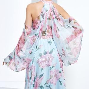 Image 5 - Dressv недорогое вечернее платье с принтом для выпускного вечера, платье трапециевидной формы с лямкой через шею и длинными рукавами, вечернее платье, элегантное женское длинное вечернее платье es