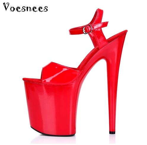Sandals Women European and American Hate Day 20cm High Catwalk Shows Nightclub Sexy High-heeled Shoes Patent Leather Sandals