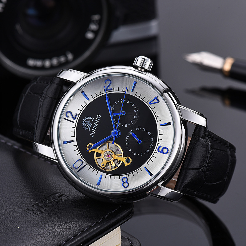 Luxury Tourbillon Real Leather Strap Watch Waterproof Automatic Mechanical Watch Male Simple Fashion Business Watch Men ultra thin watch male student korean version of the simple fashion trend fashion watch waterproof leather watch men s watch quar
