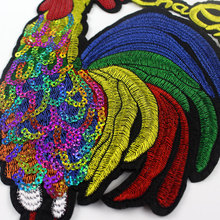 2 Pieces/Lot Embroidered Chicken Patches Sequined Cock Patches For Clothing Sew On Patch T-shirt Sweater DIY Decoration DN152