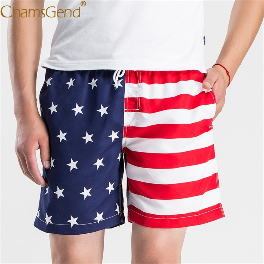Mens American Flag Print Beach Swimwear Board Shorts Pants 80404