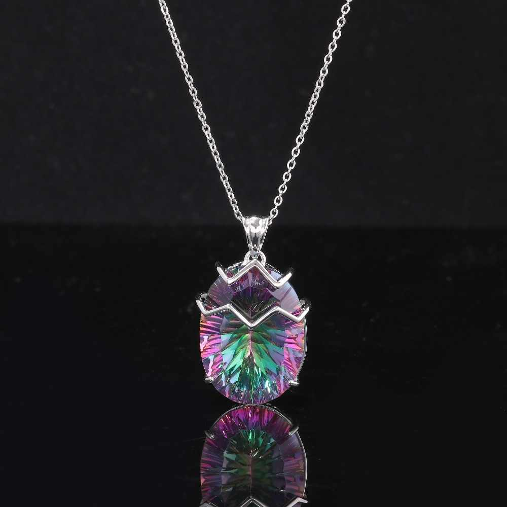 CiNily duża tęcza Mystic kamień wisiorki stałe 925 srebro Vintage czeski Boho hiperbola koktajlowa biżuteria kobiet
