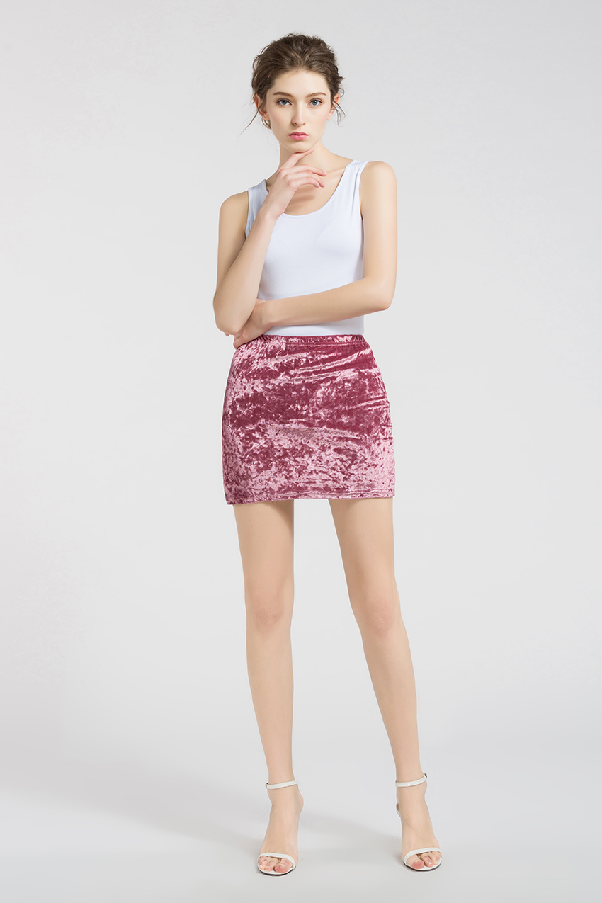 HTB1KiytRXXXXXcIXpXXq6xXFXXXB - FREE SHIPPING !!!! Velvet Skirt Women Autumn Black Pink Elastic High Waist Female JKP324