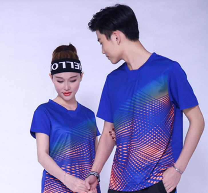 Рубашки бадминтон Короткие рукава Одежда, полиэстер настольным теннисом футболка, Trainning теннисные футболки, дышащий пинг-понг Джерси синий
