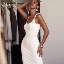 Sexy Solid Ribbed Knitted Sleeveless Pencil Dress Women White Long Slim Bodycon Party Elegant Autumn Winter