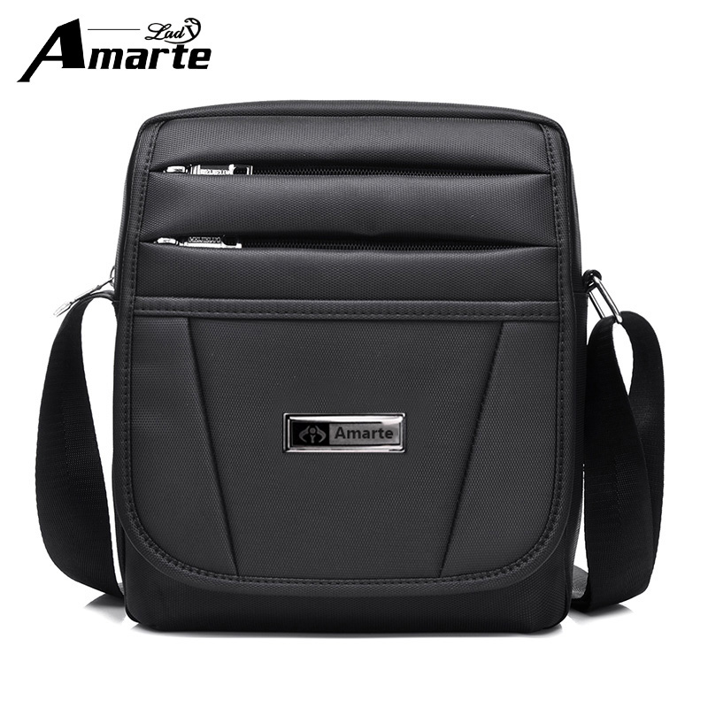Amarte Brand Black Business Man Bags Fashion Shoulder Bag Quality Oxford Male Messenger Bags Casual Crossbody Bag bolsos hombre european and american fashion black leather zipper man bag design famous manberce brand male shoulder messenger bags