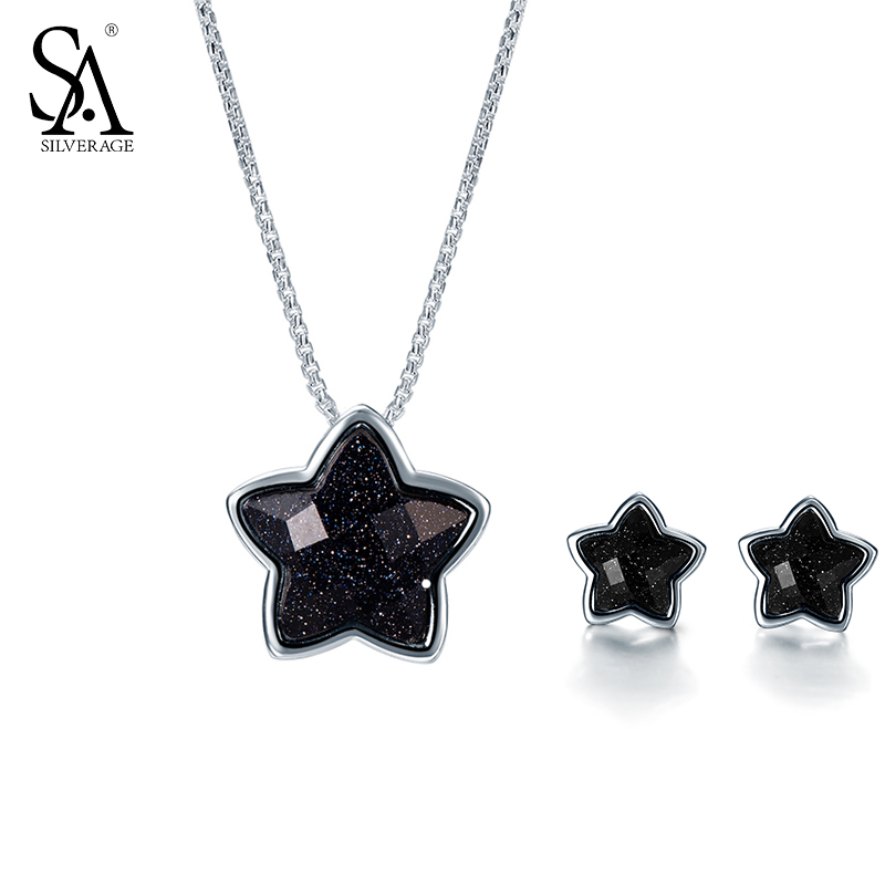 SA SILVERAGE Silver Set 925 Black Stone Star Necklace And Earrings Set For Female Women Pure Silver Jewelry S925 Birthday Gift s925 pure silver personality female models new beeswax