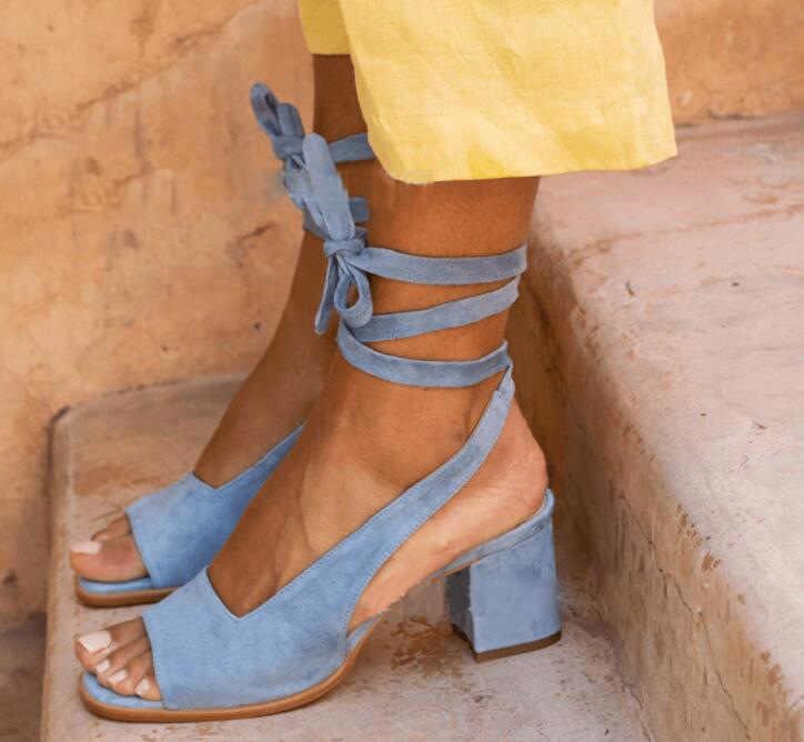 Women's Flock Ankle Strap Sandals