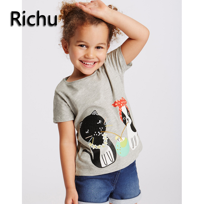 2a01ed9afd26b Richu brand girls t shirt summer short tee organic cotton clothing kids  toddler shirts boutique clothes baby cat t shirts-in Tees from Mother &  Kids ...