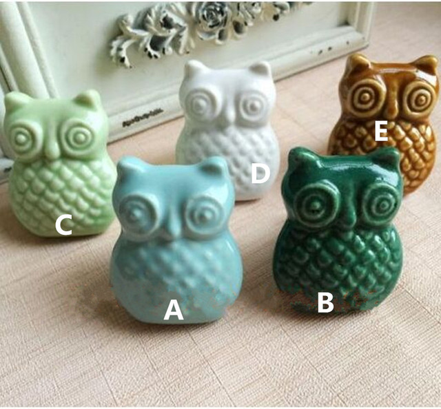 Kreative cartoon owl keramik knöpfe blau grün weiß kaffee porzellan ...