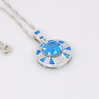 New Arrival Trendy Silver Necklace Pendants Blue Fire Opal for Ladies biggest Surprise Party Gift for Women PJ16011705 1