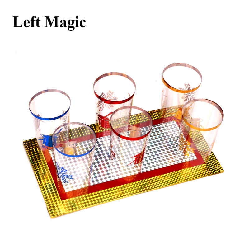 Six Cups Out From Two Plates Magic Trick Cups Appearing Stage Magic Props Board Illusions Gimmick Accessory Funny G8185