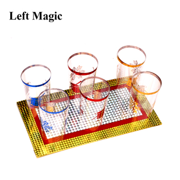 цена на Six Cups Out From Two Plates Magic Trick Cups Appearing Stage Magic Props Board Illusions Gimmick Accessory Funny G8185