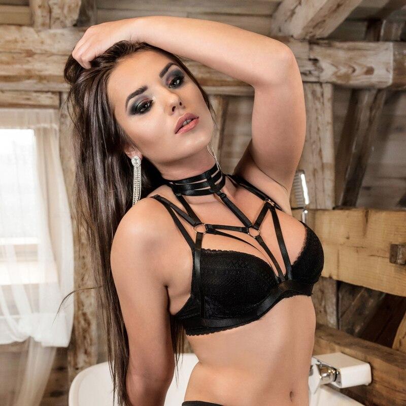 JLX. Arnés nueva llegada de encaje jaula sujetador arnés ropa interior Sexy ver a través de lencería encaje Copa Bralette fetiche Bondage arnés O0430