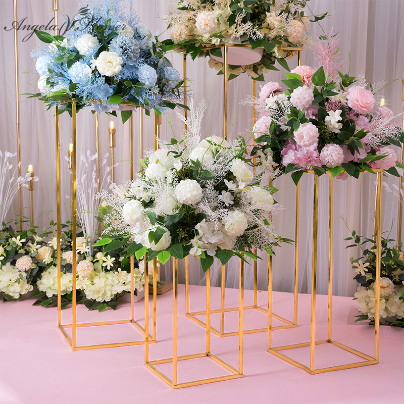 40 60 80 100cm Wedding arch decor creative geometry artificial flower wrought metal iron candlestick party