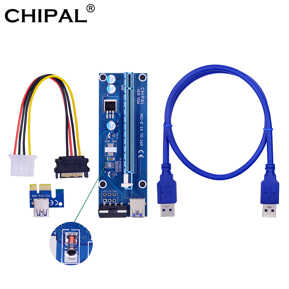 CHIPAL 10pcs Regulator Tube VER006 PCI E Riser Card PCIe 1x 16x Extender 60CM USB 3