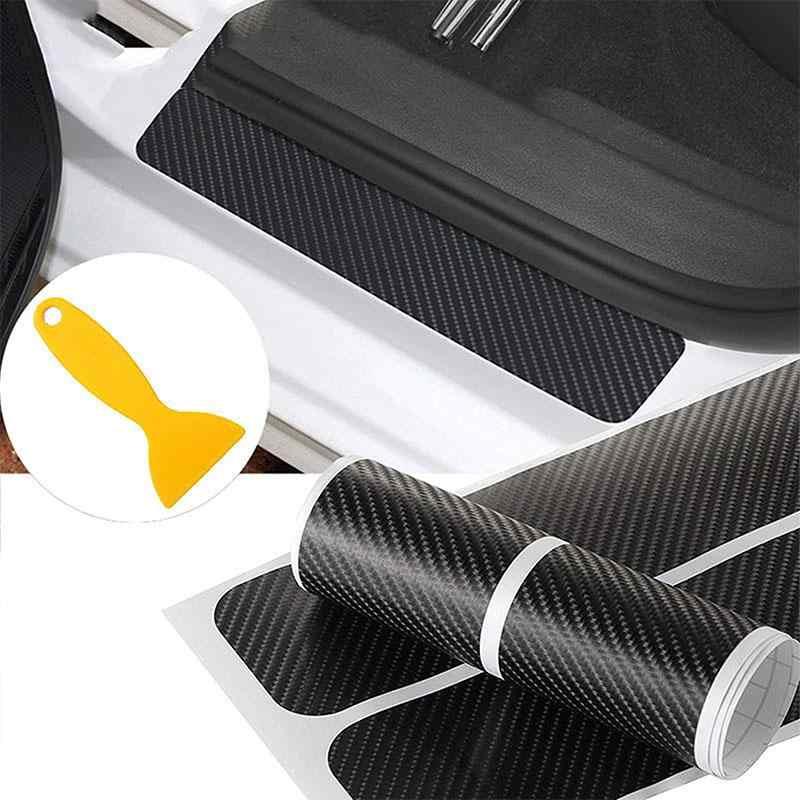 Dragonpad 4 pçs/set Acessórios Do Carro Proteger A Fibra De Carbono do Peitoril Da Porta Scuff Pedal Bem-vindo Adesivos