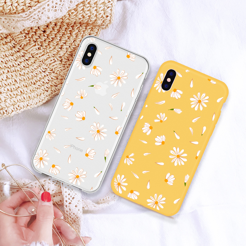Cartoon Heißer Nette Floral Daisy Telefon Fall Für <font><b>iPhone</b></font> 5 5 s SE <font><b>XS</b></font> <font><b>MAX</b></font> XR 6 6 S Plus weiche silikon Telefon Fall Für <font><b>iPhone</b></font> 8 7 Plus image