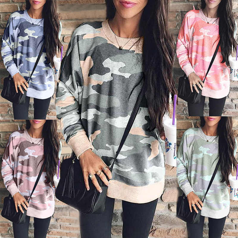 2019 Spring Autumn Women's T shirts Street Casual Long Sleeve Camouflage Print T Shirt Tops Pullovers Plus Size S-5XL Female Tee