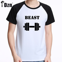 Summer Unisex Men Women Lovers T-shirts Beauty and the Beast Power Fitness Dumbbells Bow tie Couple Short Sleeve Print Tee Tops