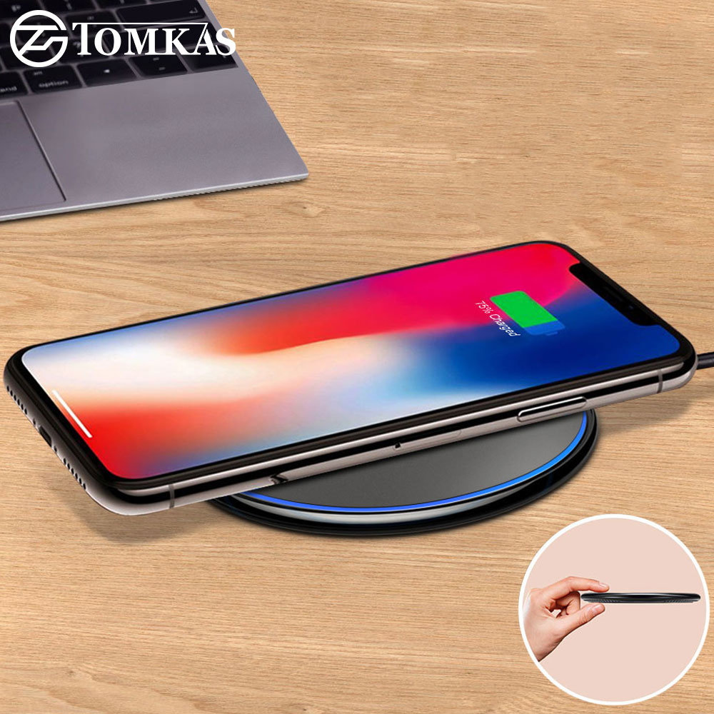 TOMKAS Ultra Slim Fast QI Wireless Charger For iPhone X 8 Wireless Charger Pad For Samsung Galaxy S9 S8 Plus Note 8