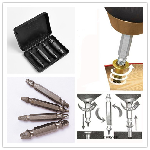 4pcs/set Double Side Drill Out Damaged Screw Extractor Out Remover Handymen Broken Bolt Stud Removal Tool Kit in case screw extractor 6pcs screw easy speed out broken screw stud extractor remover drill tool set