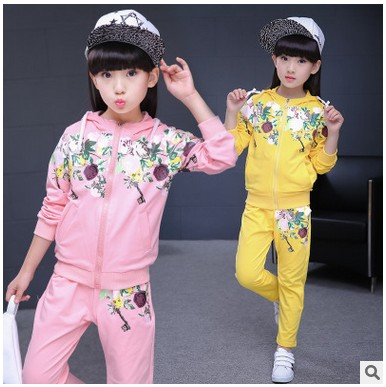 Kids spring 2017 new big girls clothing sports suit baby autumn two-piece casual long-sleeved clothes 2-13 yrs kids clothing set
