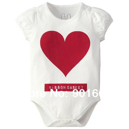 Red Heart Baby Boy Girl Short Sleeved Bodysuit Onesie 6-24 Months White