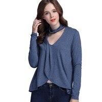 Sexy V Neck Halter T Shirt Women Tops 2017 Autumn Fashion Irregular Casual Basic Shirts Solid