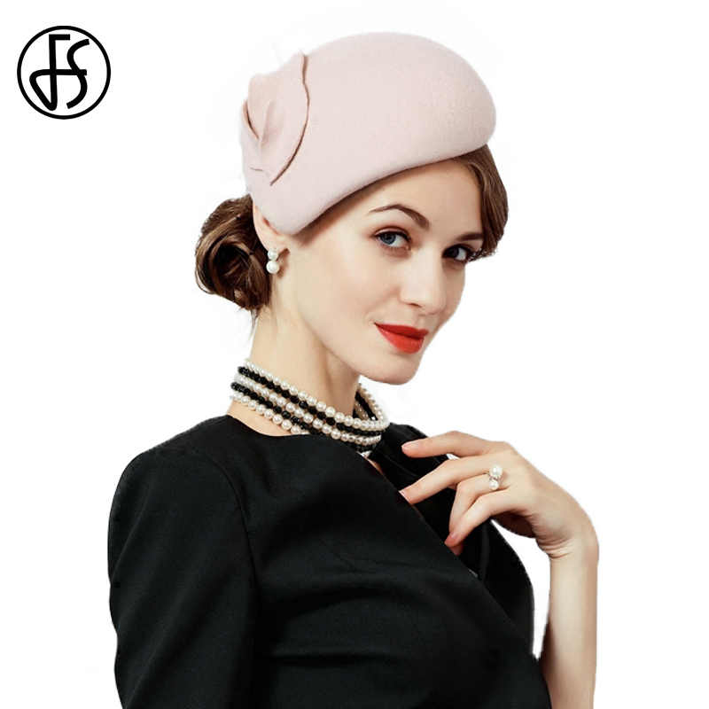 FS Fascinator Hats For Women Elegant Wool Felt Black Pink Lady Female Pillbox Hat Vintage Church Cap Wedding Fedoras Derby Cap