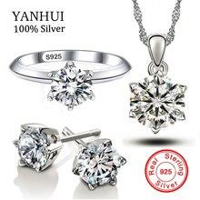 Yanhui joyería original sólido 925 anillo de plata bijoux 1 quilates CZ ZIRCON brincos colar banda Sets para las mujeres regalo js1263