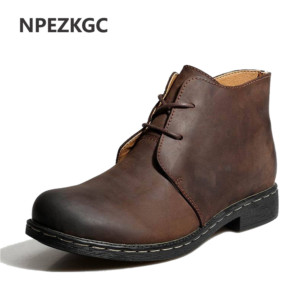 Npezkgc British Style Vintage Men Boots Crazy Genuine -7072