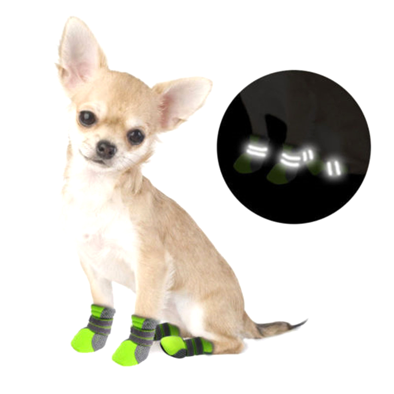 4 season waterproof pet dog shoes non-slip mesh shoes outdoor reflective breathable dog boots Sport dog shoes