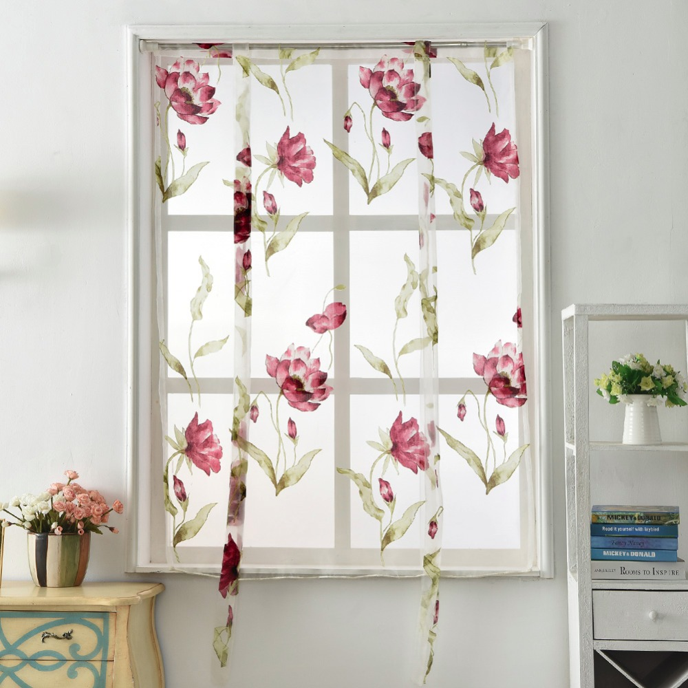 Kitchen Short Curtains Roman Blinds White Sheer Tulle: Kitchen Short Organza Curtains Panel Treatment Window Rod
