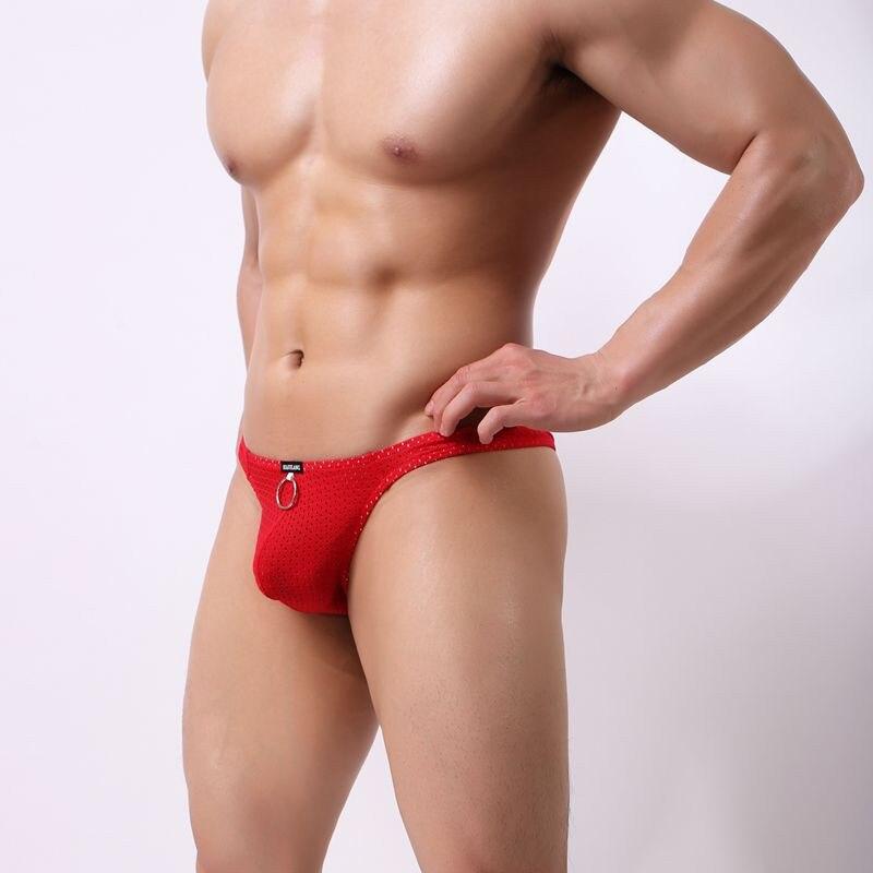 Men's Underwear Penis Pouch Underwear Braga Underwear Sexy Gay Low Waist Breathable Holes Men's Sunny Briefs Panties Thongs 2019