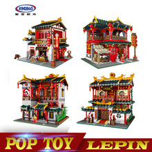 Xingbao 01002 01003 01004 MOC Creative Series The Lovely Tavern Set Kids Education Building Blocks Bricks Boy Toys Model Gift