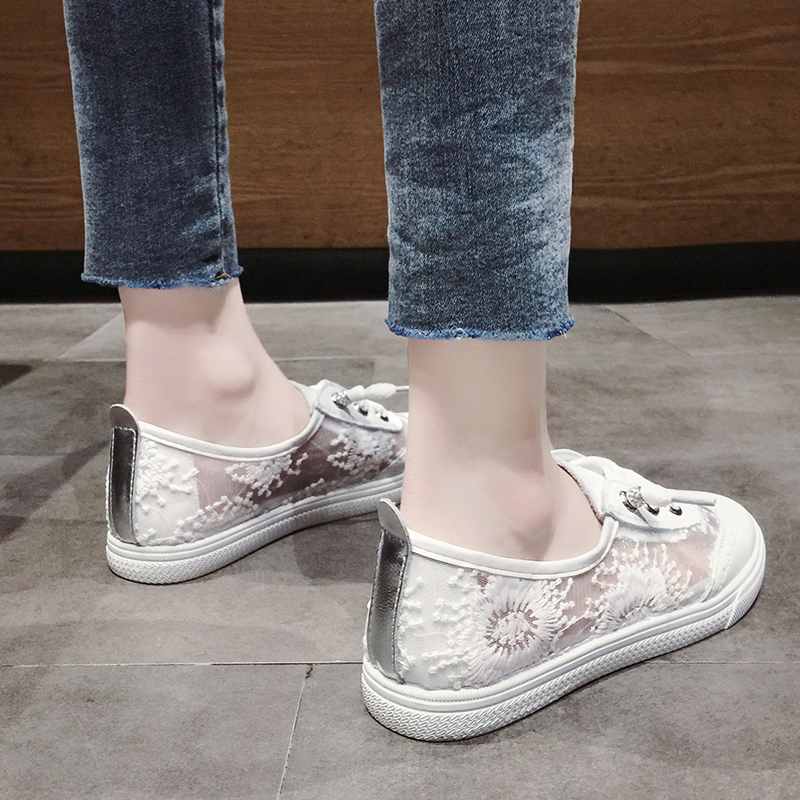 Women Shoes Breathable Mesh Hollow Female Network Soft Lightweight Casual Shoes sneakers white shoes in Women 39 s Flats from Shoes