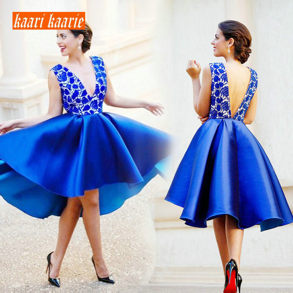 Fashion Royal Blue Short   Prom     Dress   2019 Sexy   Prom     Dress   KAARIKAARIE V Neck Satin Lace Knee Length Slim Fit Cocktail Party Gown