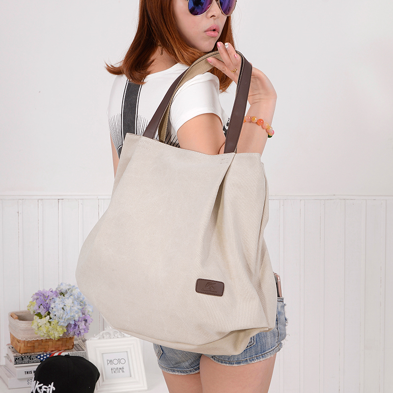 Large Capacity Women Shoulder Bags Canvas School Book Bags For Teenage Girls Travel Organizer Tote Purse Hobos Beach Bags Female