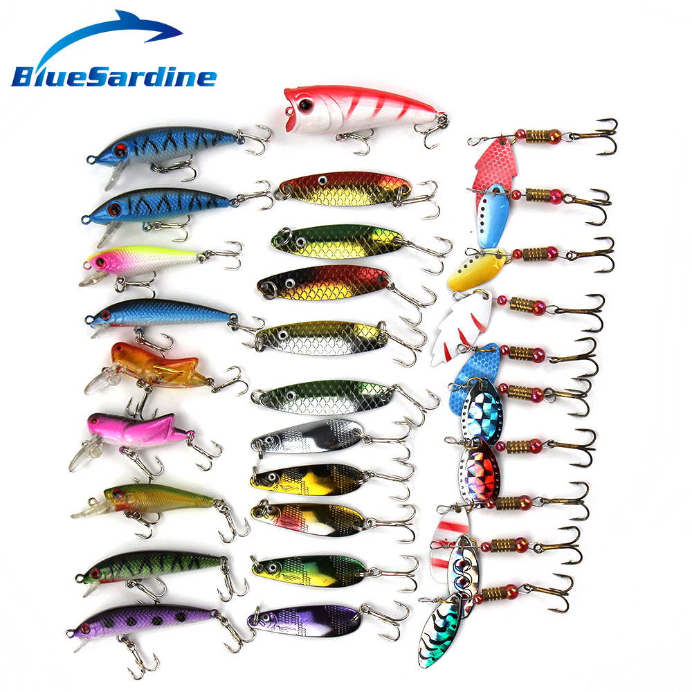 Bluesardine sale fishing lure set hard bait spoon spinner for Spinner fishing lures