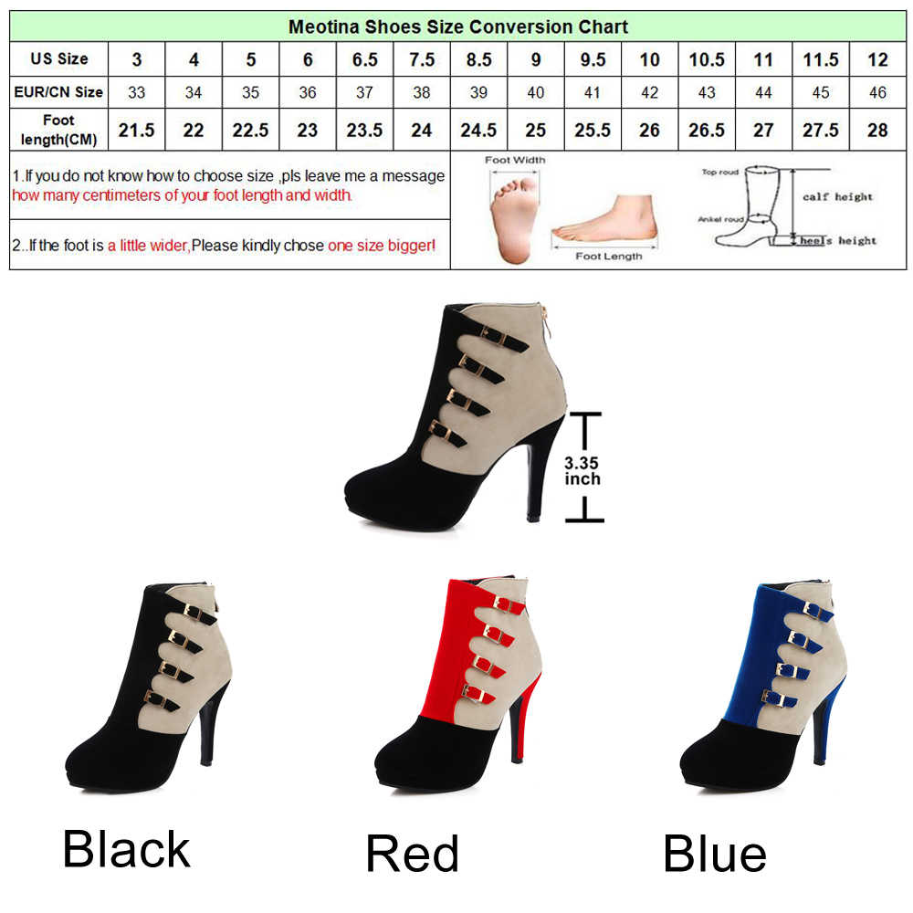 959024a9a9f ... Meotina Women Boots Winter Shoes Buckle High Heel Boots Ankle Boots  Plus Size 9 41 42