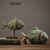 American vintage resin fish decoration home living room wine cabinet soft decoration crafts