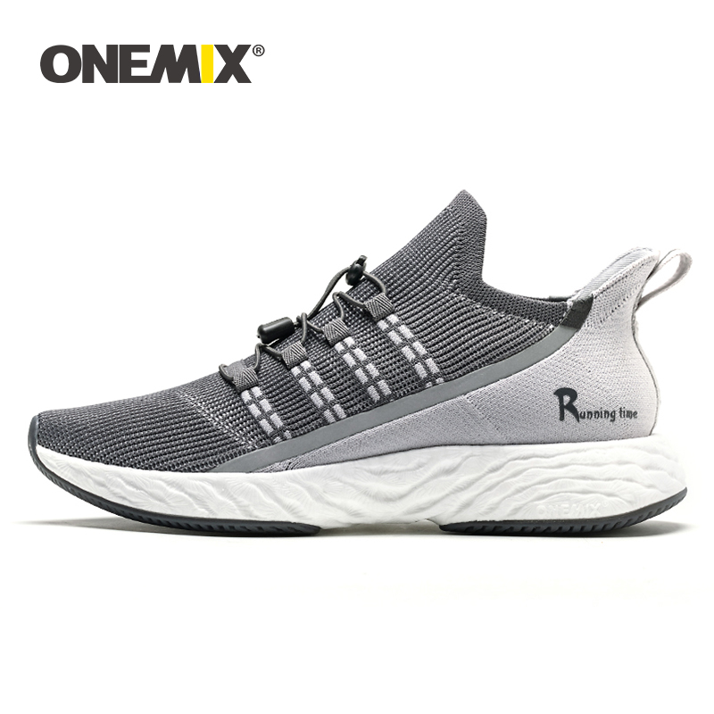 ONEMIX Men's Running Shoes Shock Absorbing Socks Shoes Light Breathable Mesh Casual Shoes Outdoor Men Walking Sneakers In Gray