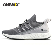 ONEMIX Men's Running Shoes Shock Absorbing Socks Shoes Light Breathable Mesh Casual Shoes Outdoor Men Walking Sneakers in Gray цена