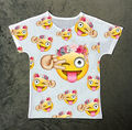 Track Ship+New Vintage Retro Fresh Hot T-shirt Top Tee Cute Emoji Make Face Smile with Flower Ring on Head 1032