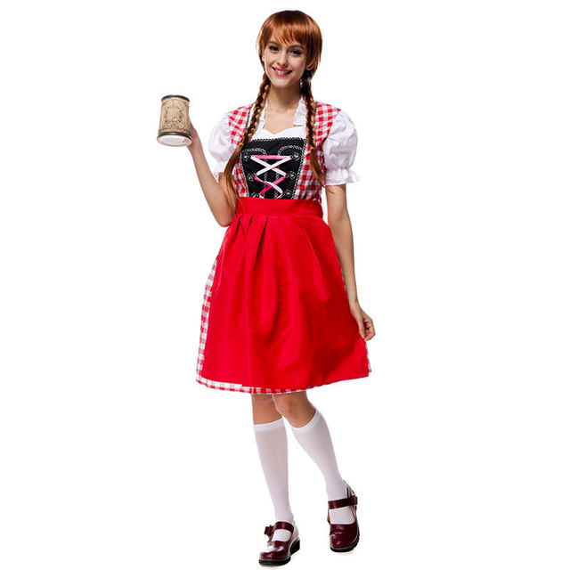 c6201162bacd3 US $27.19 15% OFF|Halloween Bavarian Oktoberfest Beer Festival Maid Waiter  Costume German Beer Wench Girl Gretchen Costumes Fantasia Cosplay Dress-in  ...