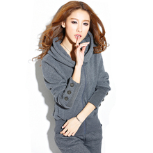 Korean women hooded sportwear 2 piece suit set 2018 spring autumn new knitted female slim tops+long pants Ms tracksuit